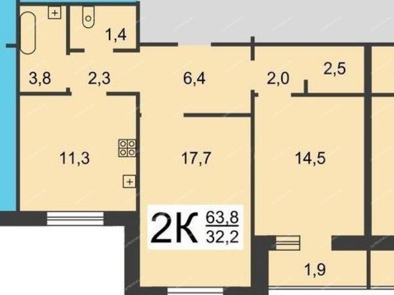 двухкомнатная квартира на улице Родионова дом 27