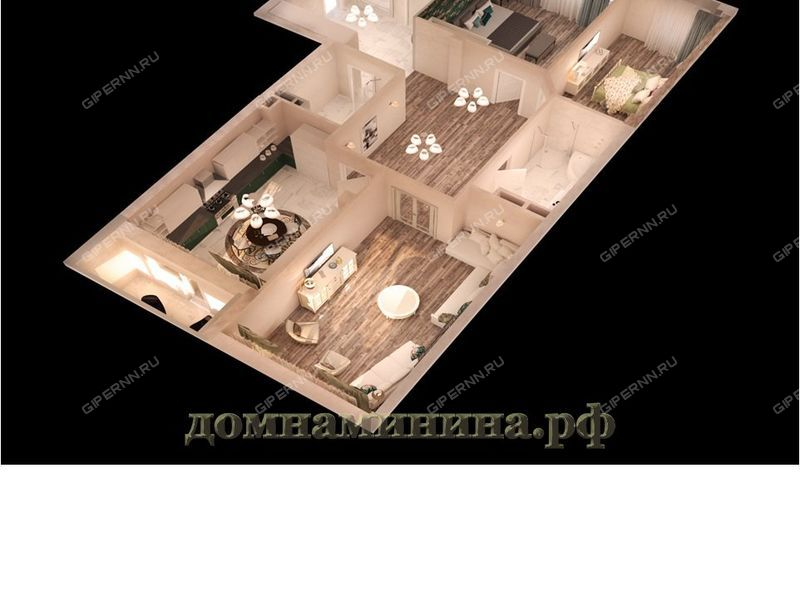 трёхкомнатная квартира в новостройке на площади Минина и Пожарского