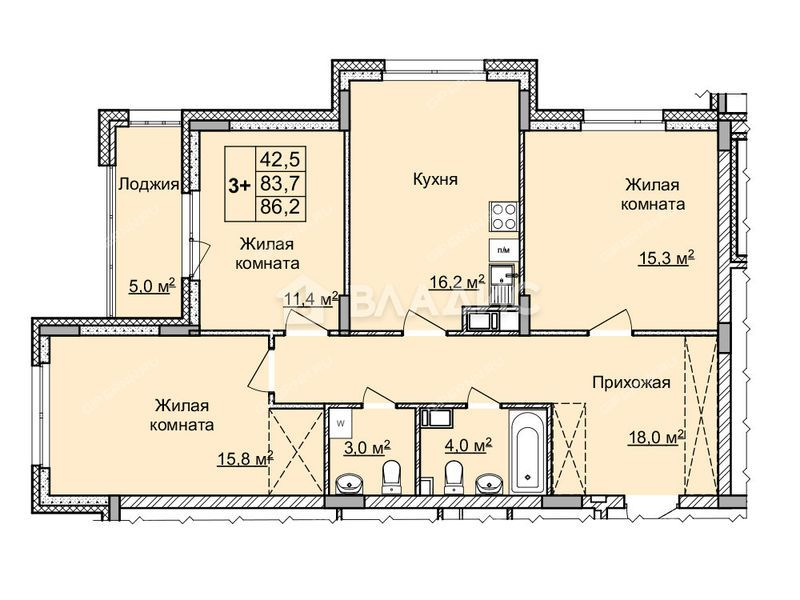 трёхкомнатная квартира на улице Цветочная