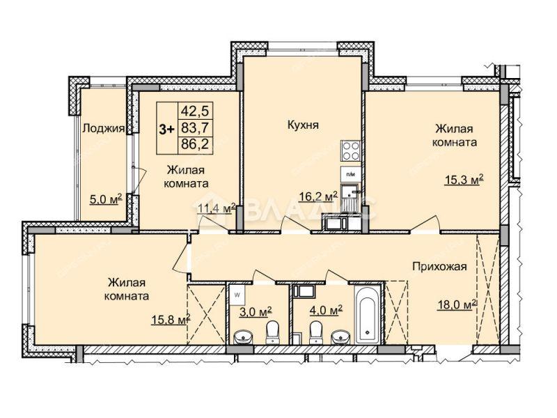 трёхкомнатная квартира в новостройке на улице Цветочная, дом №7 по генплану